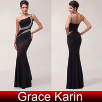 Wholesale Floor Length Mermaid Evening Gowns Sequins Pleated One Shoulder Sexy Slit Backless Party Prom Formal Dresses CL6062