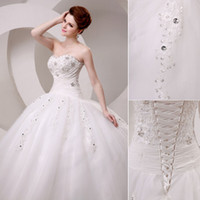 Wholesale Charming Wedding Dresses Ball Gown Tulle With Beads Lace Applique Floor Length Pleated Ball Gown In Stock Wedding Dresses Gowns