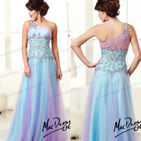 Cheap Elegant One Shoulder A line Organza Crystal Prom Dresses Beaded Miss Pageant Gown For Teen 2014 Free Shipping