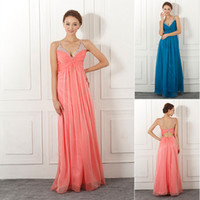 Wholesale SD047 Cheap Under Sexy In Stock Dresses Prom Dress China Spaghetti Blue Coral Chiffon Crystal Formal Evening Long party Ball Gowns