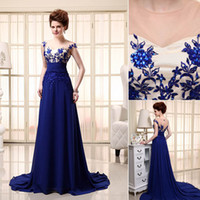 Wholesale 2014 Sexy Blue In Stock Evening Dresses Tarik Ediz Dress High Neck Backless Beaded Applique Chiffon Prom Dress Pageant Dress Gowns for Party