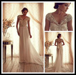 Wholesale Vintage Elegant Wedding Dresses Anna Campbell Gossamer Collection Bridal Dress With Pearls Deep V Neckline Wedding Gowns Cap Sleeve Chiffon