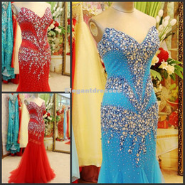 Real Photos Mermaid V Neck Full Beading Blue Tulle Long Celebrity Red African Evening Dresses 2016 Prom Gowns
