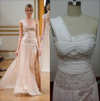 Cheap 2014 zuhair murad 100% real picture one shoulder beaded lace chiffon sheath high side slit evening gown sexy women party dress BRI381