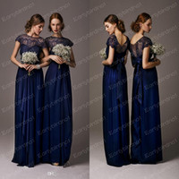 Wholesale 2014 Midnight Blue Lace Bridesmaid Dresses Sexy Cheap Illusion Crew Neck Short Sleeves Floor Length Chiffon Bow Tie Back Prom Gowns BO3839