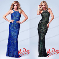 Cheap 2014 New Collection ! Scoop Neckline Mermaid Sequin Crystal Backless Miss Pageant Dress For Teen Sexy Evening Prom Gown