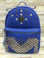 Wholesale Cool Leather Backpack Blue Pink Cool Bling MCM School Bag Top Quality New Arrival Bag