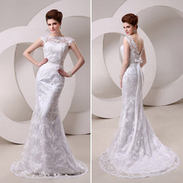 Wholesale 1 New Arrival Bateau Neck Short Sleeves with Bow Long Bridal Dress Beaded Waistline Lace Mermaid Sweep Train In Stock Wedding Dresses Gowns