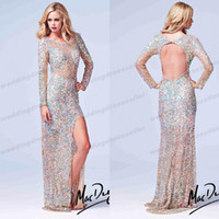 Cheap 2014 New Collection ! Crew Mermaid Sequin Crystal Backless Sheer Long Sleeve Pageant Dresses For Teen Mac Evening Gowns