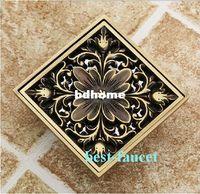 antique flooring - Euro Square Antique Brass Art Carved Flower Bathroom Sanitary Floor Drain Waste Grate