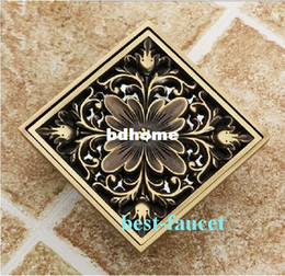 Wholesale Euro Square Antique Brass Art Carved Flower Bathroom Sanitary Floor Drain Waste Grate