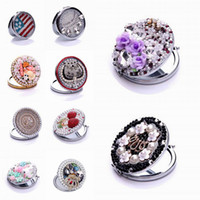 Wholesale Beauty flower pocket mirror Fashion portable double Dual sides stainless steel frame Normal Magnifying cosmetic makeup Tools D