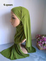 Wholesale mu256 Single jersey fabric solid colot muslim long scarf cotton blent muslim hijab