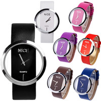 Wholesale Fashion Women PU Leather Wristwatch Transparent Dial Lady Wrist Watch Stainless Steal GLASS