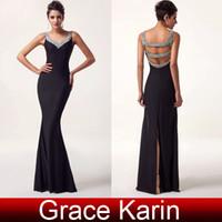 Wholesale Hot Sale Cheap Mermaid Prom Dresses V neck Backless Sequins Beaded Evening Gown Long Formal Dress Slit Back CL6061