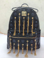 Wholesale Tassel Leather Backpack Cool Bling MCM School Bag New Arrival High Quality Bag For Women