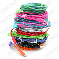 Wholesale 2M FT USB Braided Charger Cable Knit Fabric Braided Woven Data Sync Charger Cable Nylon Woven Braid Cord Lead