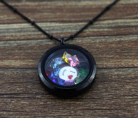 Wholesale 10pcs mm black glass locket living locket L Stainless steel round for floating locket charms