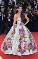 Cheap Cannes Film Festival Celebrity Dresses Sonam Kapoor Strapless Ball Gown Long Fashion Red Carpet Gowns Evening Dresses