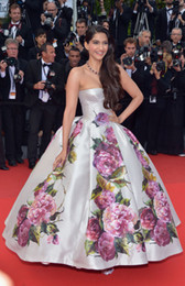 Wholesale Cannes Film Festival Celebrity Dresses Sonam Kapoor Strapless Ball Gown Long Fashion Red Carpet Gowns Evening Dresses