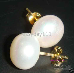 JAPANESE BIG 12-13MM WHITE PEARL EARRING 14 K