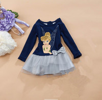 TuTu Summer as picture Free Shipping Baby Girls Fashion Dress 2014 Children Summer Clothes 2T 3T 4T 5T 6T Cartoon Tinkerbell Fairies Navy Dresses With Bow