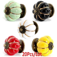 Wholesale 20Pcs New Fashion Europe Ceramic Door Cabinets Cupboard Pumpkins Knobs Handles Pull Drawer Colors TK0940