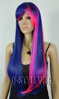 Cheap Free Ship New Stylish Heat Resistant ombre violet pink mixed color shawl Lady's Sexy Party Cosplay perform Synthetic Hair Wigs