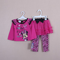 Wholesale Direct Line Baby Girls Children Clothes Long Sleeve Shirt Jumper Coat amp Pants Set Cartoon Minnie Mouse Outfit Suits