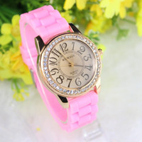 Wholesale Longer Protection Rose gold Jelly Watch silicone strap Casual Watches analog Ladies quartz watch candy color New