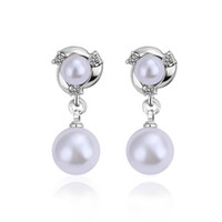 Wholesale Trend Fashion jewelry KGP gold plated earrings Swarovski Elements Crystal exquisite pearl earring stud Super cheap