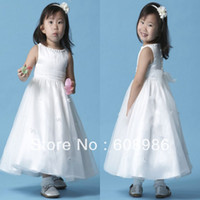 Reference Images Baby A-Line 2014-2014 New Arrival Lovely Sash White Color Children Flower Girl Dress In China HT32