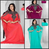 Cheap 2014 Hot Arabic Kaftan Evening Dress Long Sleeves High Neck Applique Lace Chiffon Green Abaya Dubai Evening Gowns No Pants