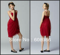 Reference Images Baby V-Neck 2014 Hot Selling Sheath Spaghetti Straps Above Knee With Pleating Flower Girls Dresses T116