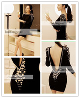 Wholesale 2014 Popular Black Short Dresses Velvet Beads Sexy A Line Mini Dresses Crew Scoop Backless LongSleeve Party Dresses Party Gowns Custom Made