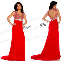 Cheap New Arrival ! Sexy Backless Miss Pageant Dresses For Teen Red Chiffon Beaded Crystal A Line Prom Gown Mac002 Evening Dress