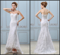 Wholesale 2014 Embroidery Beading Sequins Lace Up Back Satin Sheath Wedding Dresses