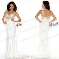 Cheap New Arrival ! Sexy V Neck Miss Pageant Dresses For Teen White Chiffon Sequin Crystal Mermaid Prom Gown Mac002 Evening Dress