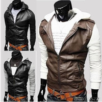 Cheap NEW MEN'S BRITISH STYLE STITCHING MACHINE WAGON KNIT HOODED SLIM SHORT PARAGRAPH LEATHER JACKET MF-43209