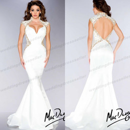 Wholesale 2014 High Neck Mermaid Beaded Sequin Backless Evening Gowns Sexy Miss Pageant Dress For Teen Prom Gown