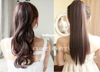 Wholesale Real Feel Clip Ponytail Pony Tail Hair Extension Straight Curl Wave not Human