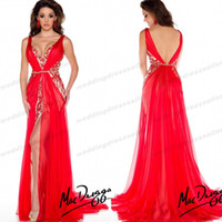 Cheap New Fashion ! V Neck Mermaid Chiffon Beaded Prom Dresses Red Backless Evening Gown Miss Pageant Dress For Teen 2014