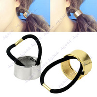 Wholesale Fashion Stylish Women New Personality Metal Hair Cuff Band Ponytail Holder Elastic Gold Silver