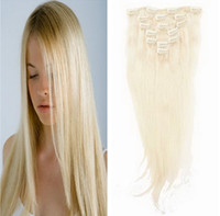 Wholesale 1PCS quot quot Clip In Hair Extensions pieces g g Remy Human Hair Extension With Clips Platinum Blonde JFS1