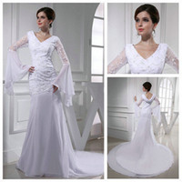 Cheap 2014 New arrivalMermaid Style White Chiffon Lace V-neckline Real Model Cheap Long Sleeve Wedding Dress
