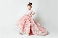 Wholesale 2014 New Fashion Pink Little Girl Pageant Dress Organza Sleeveless Tiers Slit Long Flower Girl Dress