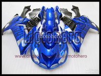 Wholesale Hi gradeABS gifts Pre drilled black flame blue fairings for KAWASAKI Ninja ZX R ZX R ZX14R ZZR1400 bodywork s900