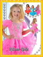 Wholesale 2015 New Designed Girls Pageant Dresses Cupcake Pink Crystal Cap Sleeve Organza Ruffles Girl Kids Pageant Evening Gown Dress