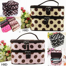 Wholesale Women Double Cosmetic Bag Retro Dot Beauty Case Makeup Set Large Cosmetic Tool Storage Toiletry Bag HXD
