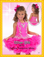 Wholesale 2016 High end Fuchsia Halter Girl s Pageant Dresses With Ball Gowns Short Crystals Beads Little Girl Kids Flower girls Party Gown Dress